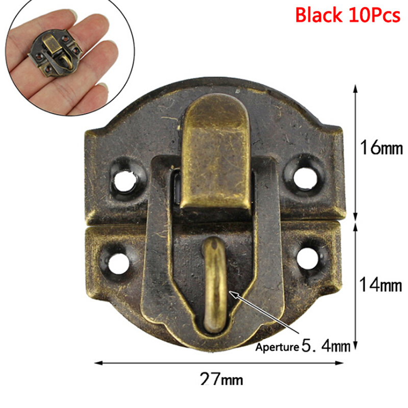 10Pcs Antique Hasps Iron Lock Catch Latches For Jewelry Chest Box Suitcase Buckle Clip Clasp Vintage Hardware 27*30mm