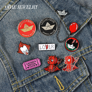 QIHE JEWELRY Terrifying clown startle enamel pins Losers club boat demon brooches lapel badges backpack pins gifts for friends