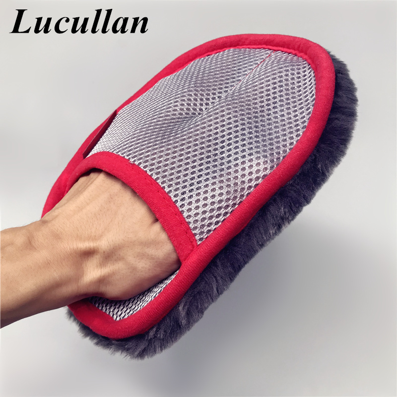 Lucullan Dirtproof Super Dense Synthetic Hair Glove Lint-Free Car Wash Mitt For Leather,Panel,Dashboard