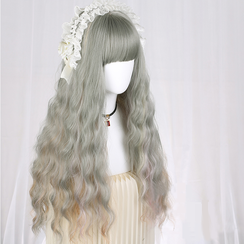 Daily Lovely Lolita Cosplay Wigs High-temperature Fiber Synthetic Hair Gray Long Water Wave Curly Hair+free Hair Cap