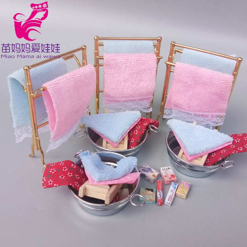 Mini Clothes Rack Model Charm Mini Toiletries Soap Face Mask Toothpaste Accessories For Barbie Blythe Doll House Accessories