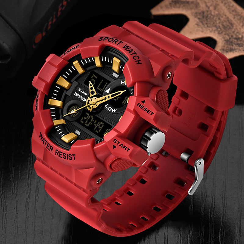 SANDA Brand Wrist Watch Men Watches Military Army Sport Waterproof Wristwatch Dual Display Male Watch For Men Clock Outdoor Hour
