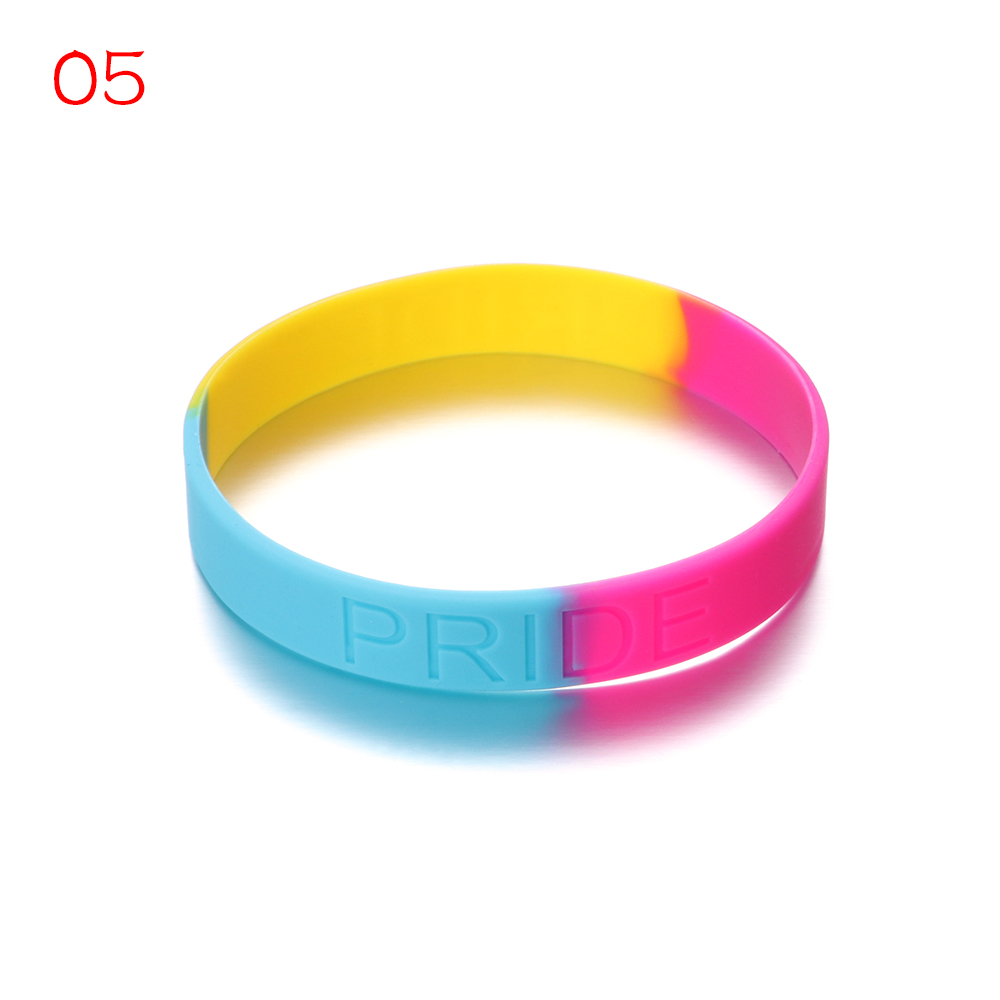 Gay Pride Rainbow Silicone Bracelets Trans Pride Bi Pride Letter Carved Jewelry