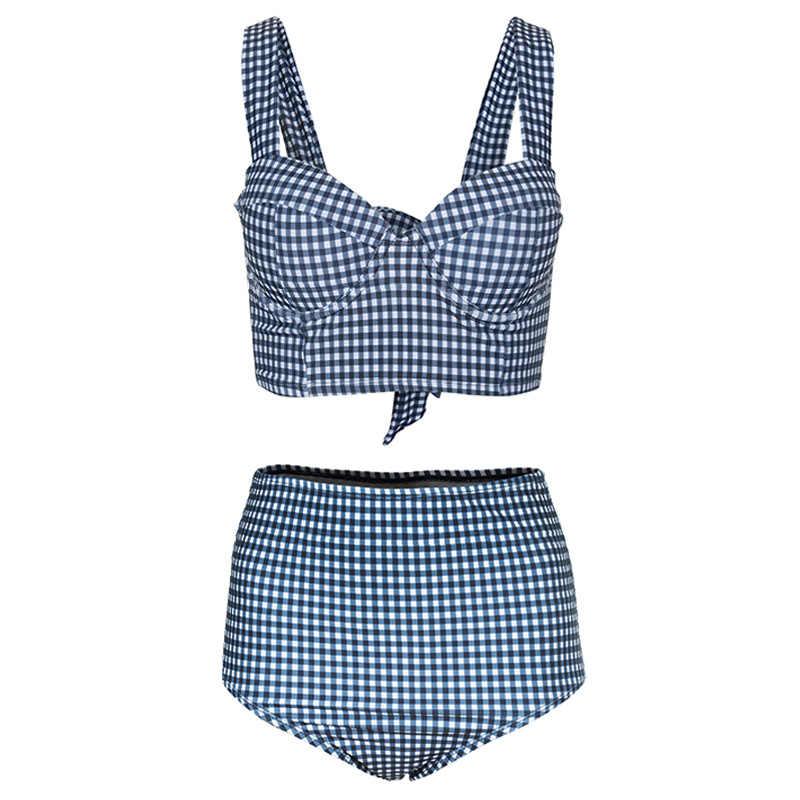 2020 taille haute Plaid Bikini coréen maillot de bain body livraison directe mignon dos maillots de bainà nœud simple filles Vintage maillot de bain femmes
