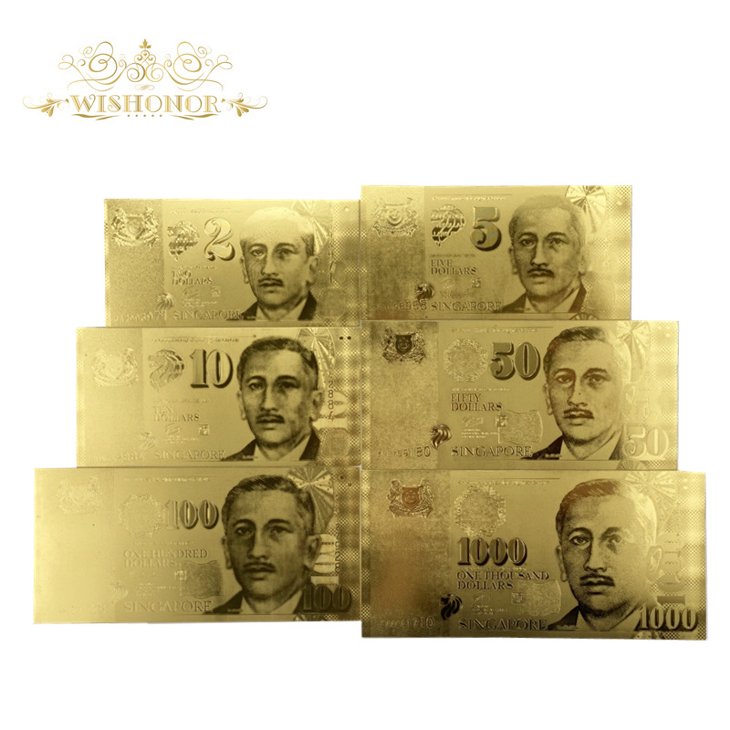 6pcs/set New Gold Singapore Banknotes 2 5 10 50 100 1000 SGD Gold Banknote in 24k Gold Plated Fake money for Collection