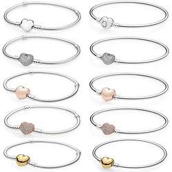 Novo 100% 925 prata esterlina rosa ouro coração pulseira claro cz charme talão apto pulseira diy jóias presente a fábrica atacado