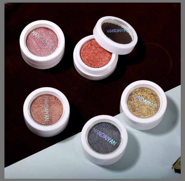 HANDAIYAN Single Glitter Eye Shadow Pallete Long-Lasting Waterproof Soft Shimmer Eye Makeup Metallic Gel Eyeshadow Pigment