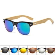 Bamboo Sunglasses Men Wooden half frame metal Women Brand De