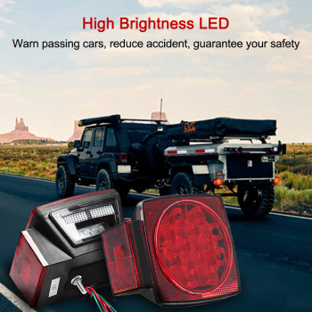 Hot 12V Trailer Tail LED Light Kit Super Bright Brake Stop Warning Lights Tail License Lights for Camper Truck with Accessories