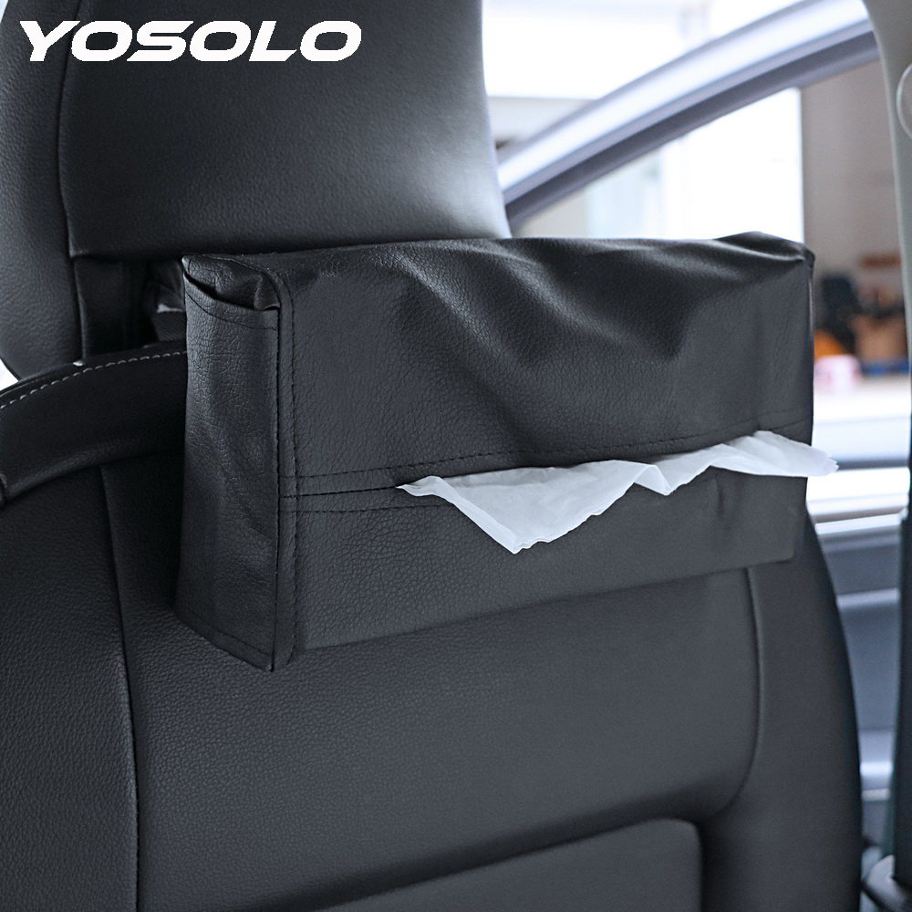 YOSOLO Car Tissue Box Cover Tissue Box Car Interior Accessories Leather Napkins Holder