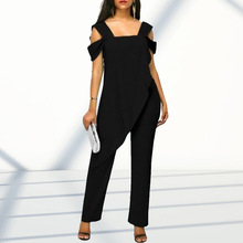 цена на Plus Size 5Xl Women's Fashion High Waist Slim Sleeveless Jumpsuits Solid Casual Cold Shoulder Irregular Pencil Jumpsuit Rompers