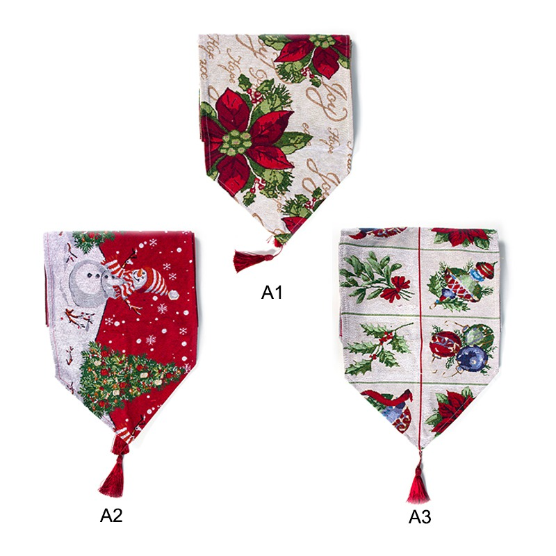 Christmas Table Runner With Tassels Pendant Festive Holiday Dinning Table Decorations YH