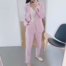 KUMSVAG Women Solid OL Pants Suits Two-pieces Sets 2020 Summ