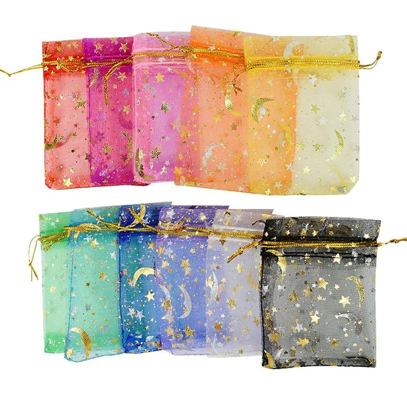 50 Teile/los Kordelzug 7x9cm Beutel Kleine Größe Schmuck Geschenk Display Verpackung Taschen Organza Handwerk Candy Goodie Sweets vorhanden Taschen