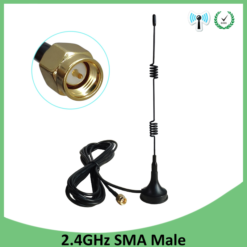 2.4Ghz Wifi Antenna SMA Male Connector 5dbi 2.4G Antena Magnetic Base Sucker Antenne 3 Meters Extension Cable Wi-fi Router