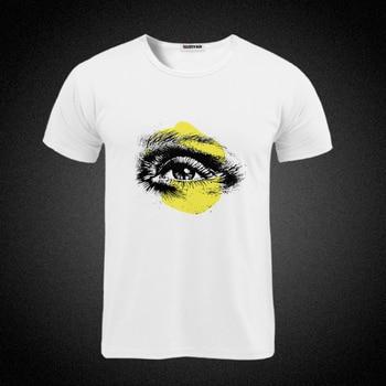 deep eyes print Hipster mens match cotton T Shirt Men's High Quality shirt summer style funny top tees all-match white men's tee