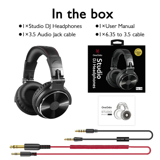 Oneodio Wired DJ Headphones Bass Stereo Gaming Headset With Microphone For Phone Over Ear Professional Studio Monitor Headphone 6
