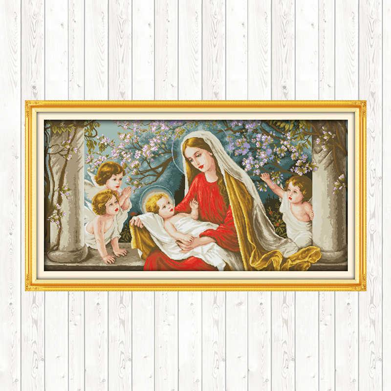 マドンナパターンシリーズ 11CT 14CT カウントクロスステッチキットプリント生地 diy ハンドメイドの刺繍裁縫キット家の装飾