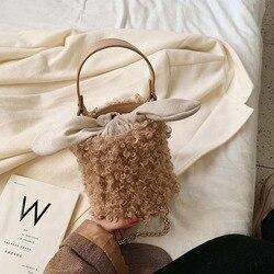 Haute qualité hiver agneau cheveux sac femmes mode chaîne épaule sac de messager 2020new à la mode dames net rouge corde en peluche seau sac