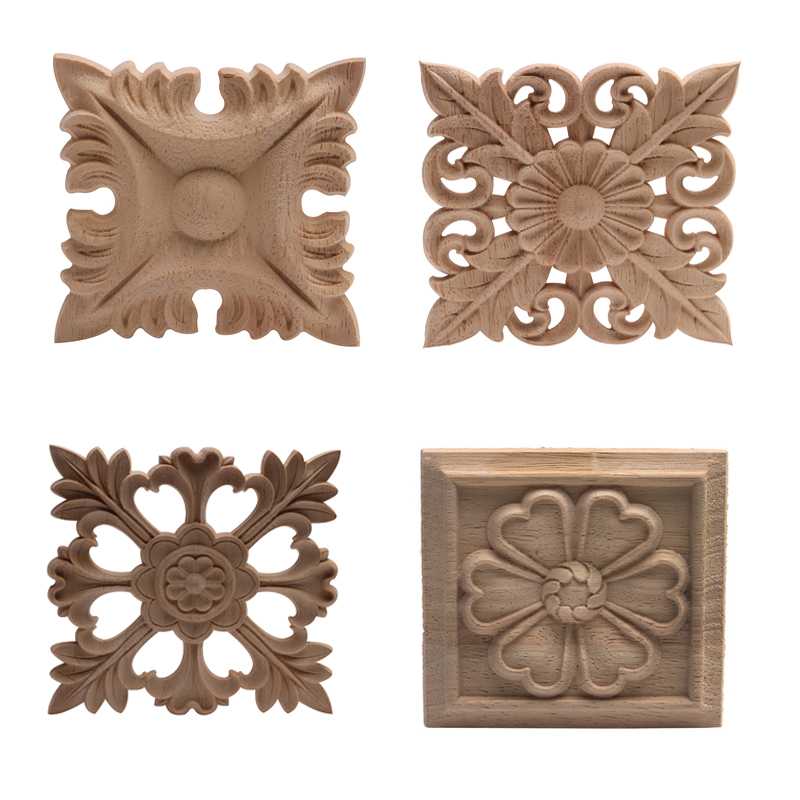 Wood Applique Wood Decal Solid Wood Carved Door Cabinet Door Patch Flower Wholesale European-style Home Decoration Accessories