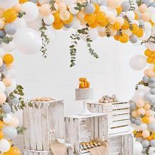 100 قطعة 12/10 بوصة معكرون واللؤلؤ اللاتكس بالون حزمة من رمادي ، برتقالي ، بالون الخوخ بالون مملوء بالهليوم قوس الزفاف عيد ميلاد ديكور