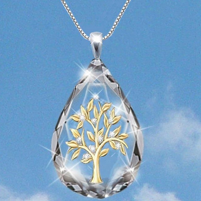 Transparent Crystal Waterdrop Shape Life Tree Pendant Necklace for Women Fashion Party Jewelry Necklace Gifts