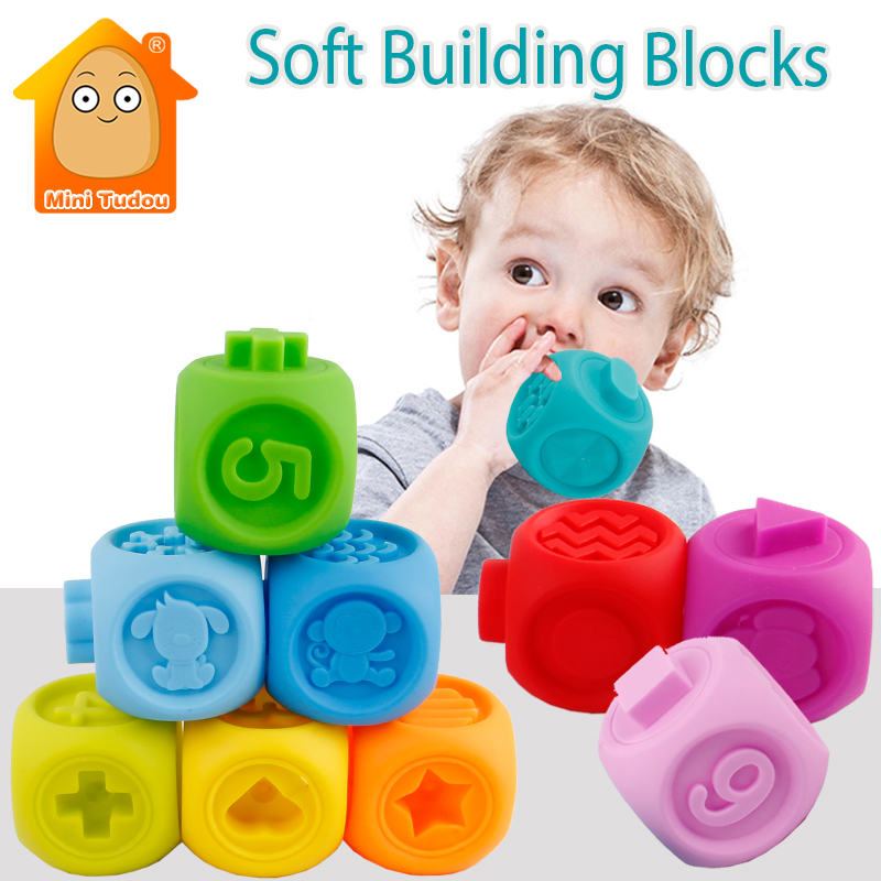 10PCS Baby Soft Toys Stacking 3D Sensory Hand Balls Animal Number Baby Educational Massage Rubber Teethers Squeeze Toy Bath Ball