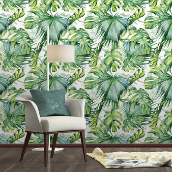 DIY PVC Wall Sticker Wallpaper Self Adhesive Tropical Palm Leaf Wallpaper Waterproof House Room Home Decoration Art Poster beauty little girl wall sticker pvc wallstickers wall art wallpaper for kids room decoration waterproof adesivi murali lw588