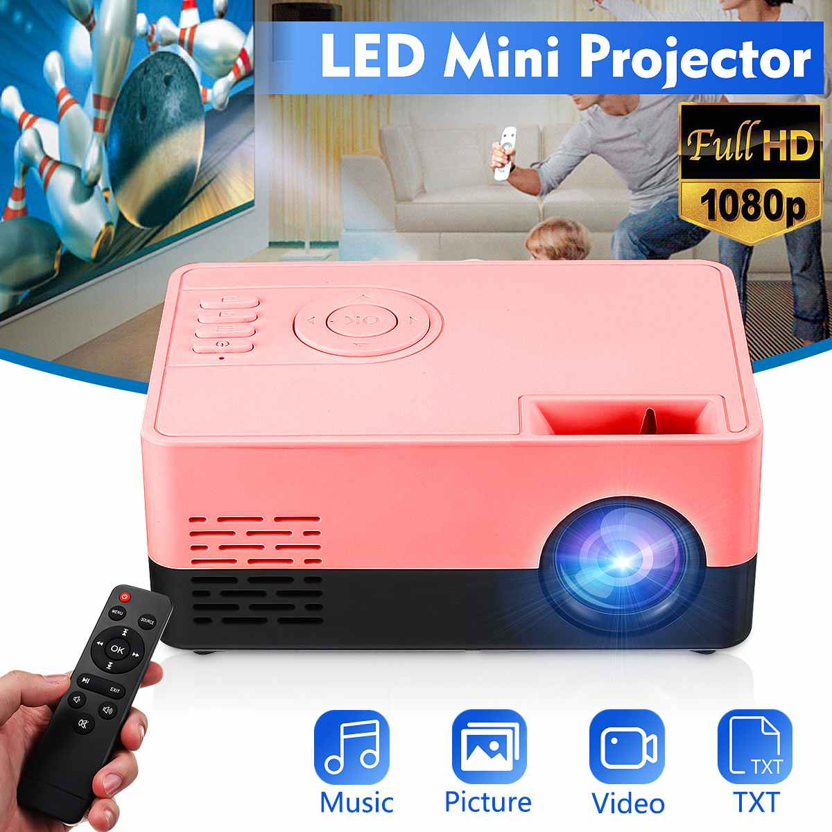 EU Mini LED Phone HD Projector Bluetooth WIFI Portable Projector Home Cinema Theater Outdoor Movie For Party Camping