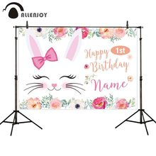 Allenjoy Happy 1st Birthday Photobooth Rabbits Flowers Bow Newborn Baptism Backdrops Baby Shower Party Photophone Background цена в Москве и Питере