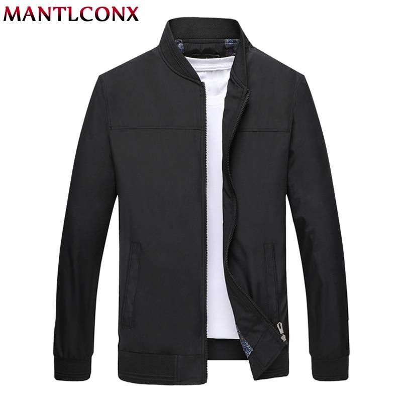 MANTLCONX Autumn Mens Jackets Casual Coats Solid Color Zipper Jacket Male Men Outerwear