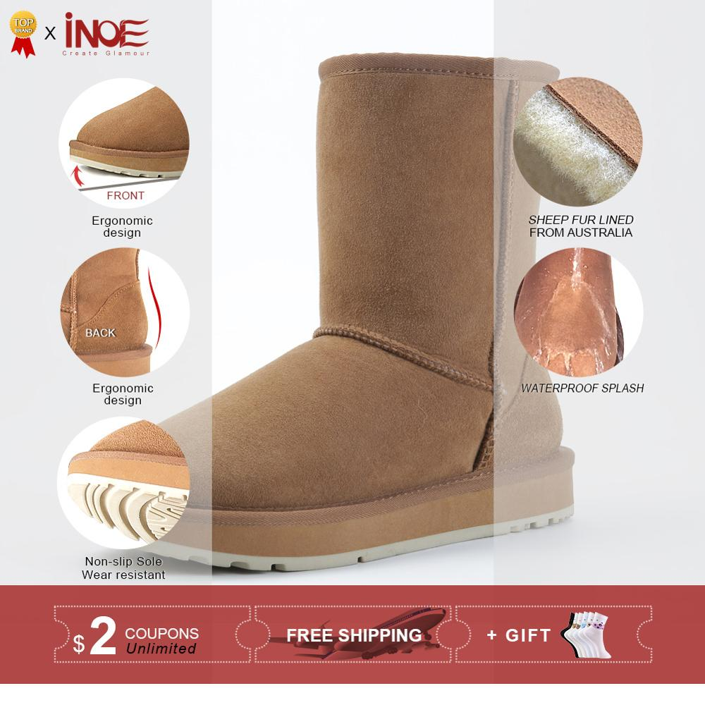 Image 2 - INOE Basic Winter Snow Boots for Women Sheepskin Suede Leather 