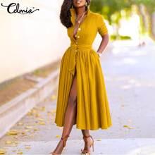 Celmia elegante feminino midi vestido 2021 outono manga longa botões do vintage camisa vestido plus size casual solto com cinto vestidos de festa