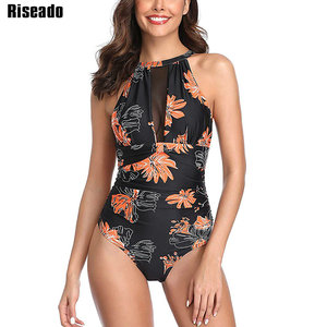 Image 3 - Riseado Sexy Mesh Swimwear Women Halter One Piece Swimsuit Black Beachwear Ruched Bathing Suits Backless Swimming Suit Summer