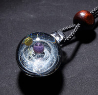 Handmade Double Ball Cosmic Galaxy Necklace Women, Galaxy Glass Universe Necklace, Adustable 72cm Rope, Tousmi 01