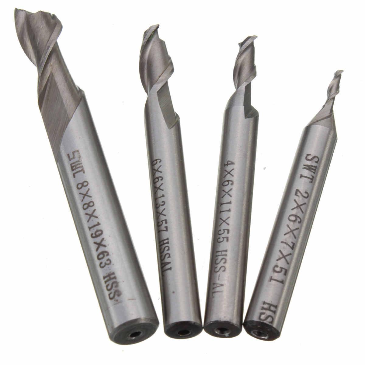 1PC 2 חליל HSS & אלומיניום סוף כרסום חותך CNC קצת 2mm-8mm מילס חריטת כלים הטוב ביותר קידום