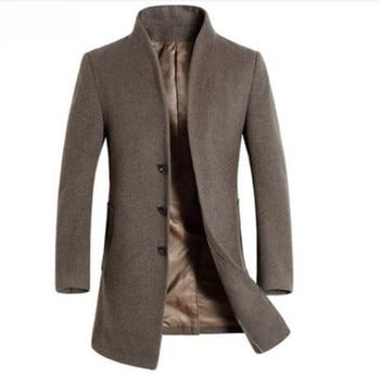 winter casual Men's wool Jackets and coats men slim fit business brown wool overcoat jacket male woolen outwear clothing