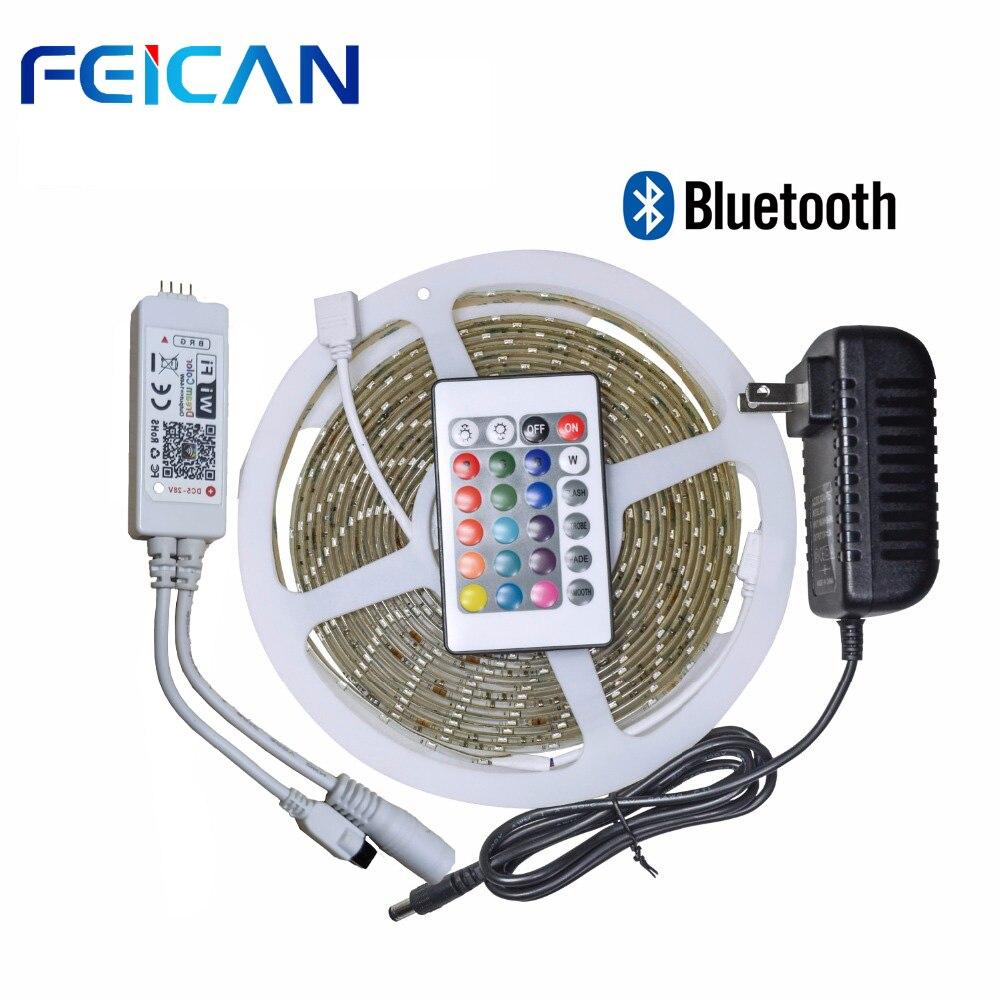 60 SMD2835 RGB Tira CONDUZIDA 60leds/m RGB LED Bluetooth controlador 24key IR Controle Remoto 12V Adaptador De Energia kit faixa de led à prova d' água