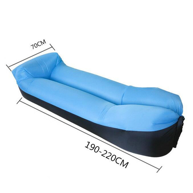 Lazy Pillow Waterproof Lazy Inflatable Sofa Portable outdoor beach air sofa bed Sleeping bag bed Oxford cloth 240*70cm 1