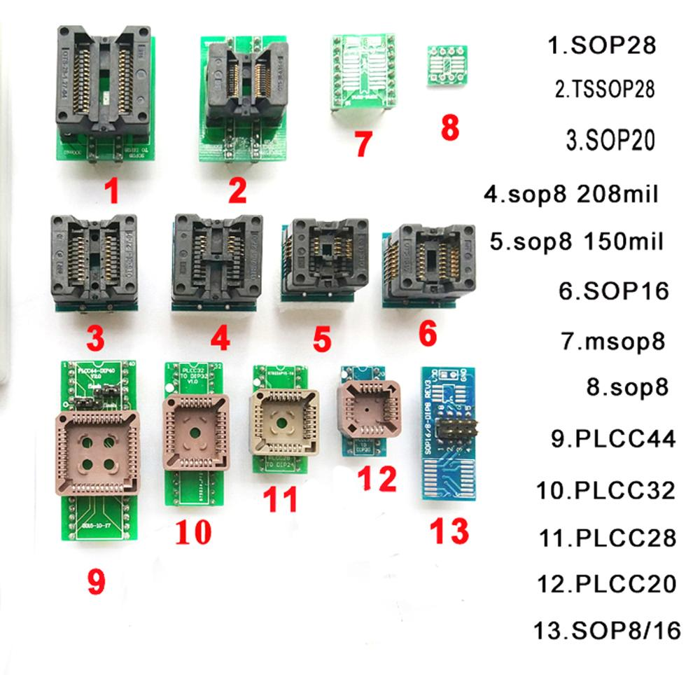 Free shipping13 pcs Universal adapter scoket for programmer vs4800 tnm5000 TL866ii plus TOP3000 top3100 ic chip avr programmer