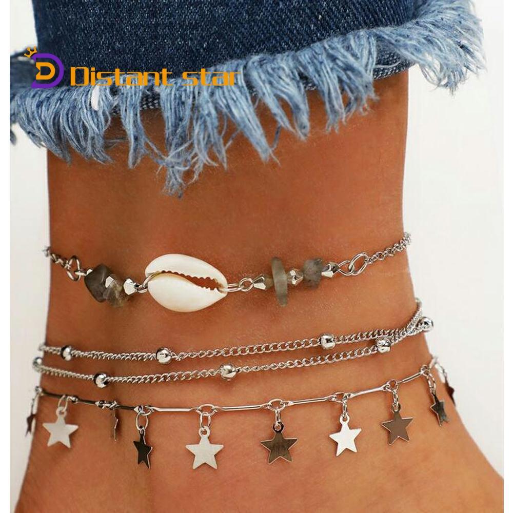 bohemian women's shell anklet ankle bracelet beads conch star leg foot brecelets rope link chain handmade anklets set for women