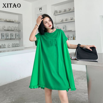 XITAO Plus Size Elegant Dress Fashion New Women Summer Pleated Goddess Fan Patchwork Small Fresh Casual Loose Dress GCC3669