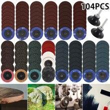 104 pièces 2 pouces disques de ponçage rouleau de verrouillage Surface disques de ponçage tampon de polissage papier de verre r-type disque de changement rapide pour outils rotatifs