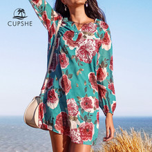CUPSHE Blue and Red Floral Print Cover Up Sexy V-neck Tunic Beach Dress Women Summer Beach Bathing Suit Beachwear(China)