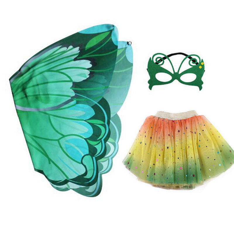 Image 3 - Halloween Girls Butterfly Print Wings Shawl Scarves Poncho Costume Kids Fairy 3 Layers Tutu Skirts Mask Cosplay Party CostumeGirls Costumes   -