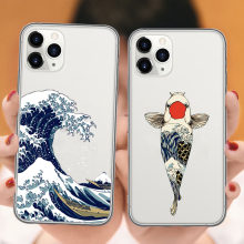 La Gran Ola de Kanagawa iphone Caso 11 Pro Max de peces koi cubierta del tpu para iPhone X XR Xs Max 5S 6s 6 7 8 Plus coque(China)