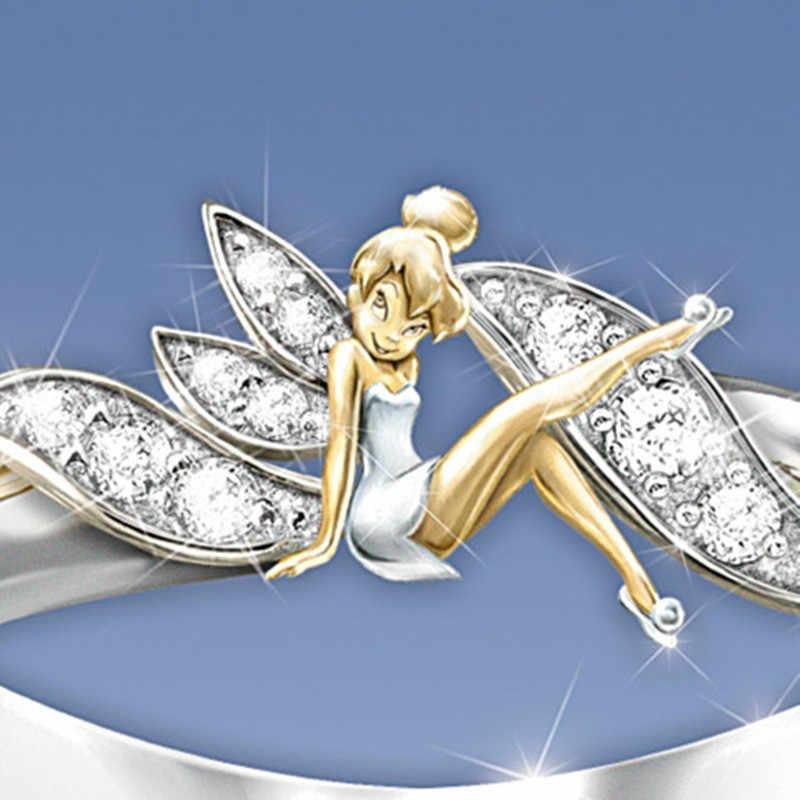 Cánh Thiên Thần Thời Trang Cho Nữ, Nhẫn Nữ Bạc Trang Sức Nữ Dễ Thương Nhẫn Nữ Vàng Tình Yêu Pha Lê Nhẫn Cho Nữ Sinh Nhật quà Tặng