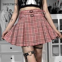 Goth Vintage Plaid Pink Sashes Skirt Women Harajuku Punk Grunge Pleated Skirt Summer Sexy Elegant Party High Waist Skirt