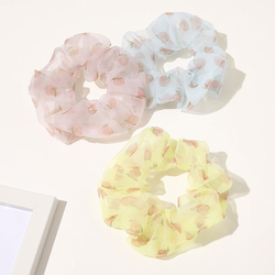 French Organza Hair Scrunchies Women Peach Printed Rubber Band Girl Headwear Ponytail Holder Hair Accessories Elastic Hair Bands
