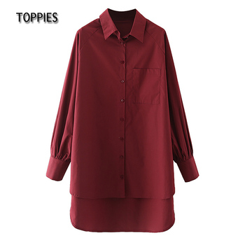 Toppies Casual Long Sleeve Shirt Dress Women Back Long Hem Single Button Dresses Female Blouses